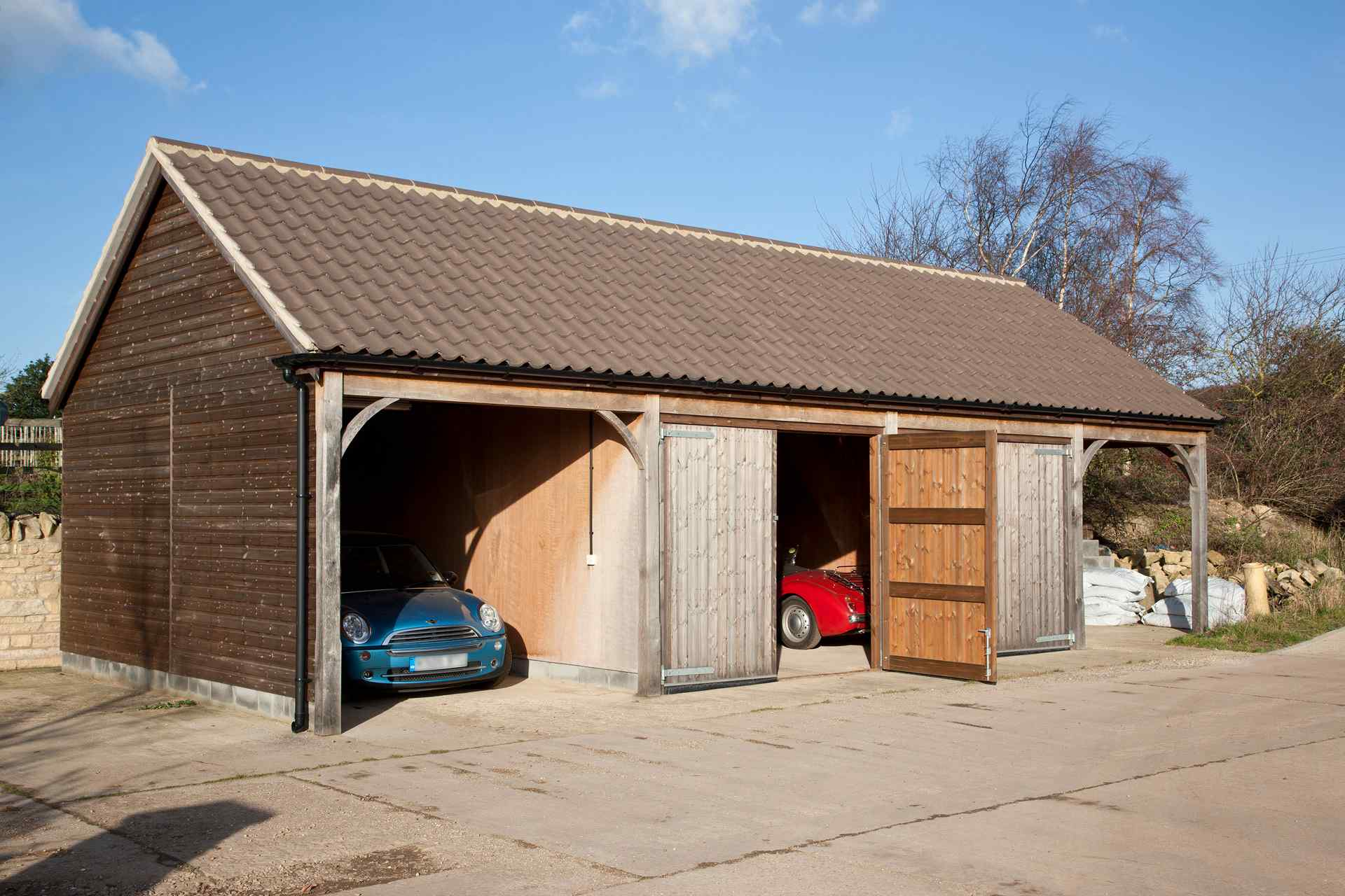 3 Car Garage Block : Three bay garage block with workshope lincolnshire