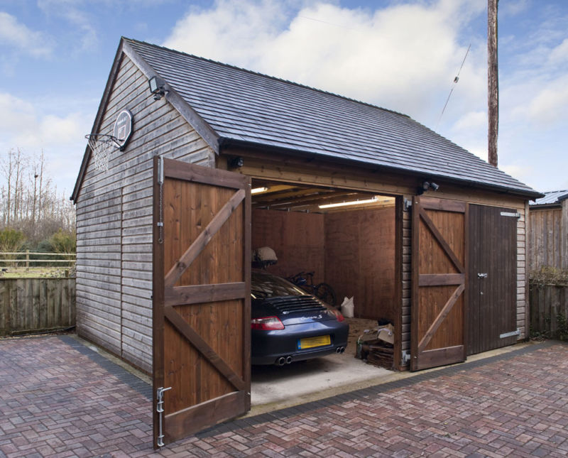 Single Storey Double Timber Garage Wiltshire