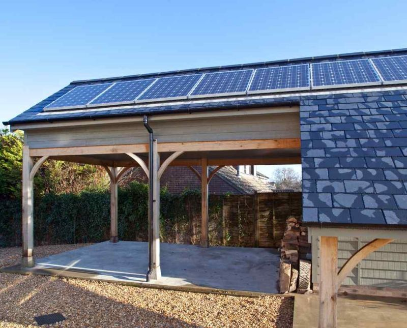 Single storey timber garage carport and log store for Single story timber frame homes