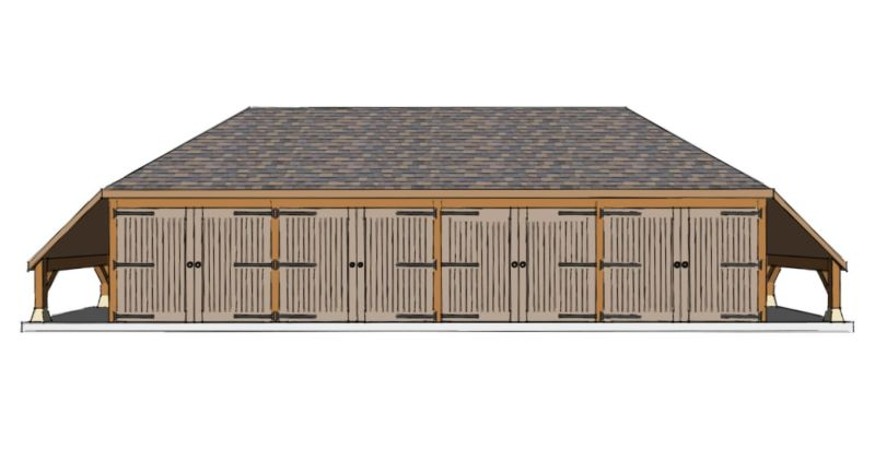 Four Bay Garage With Log Stores The Stable Company