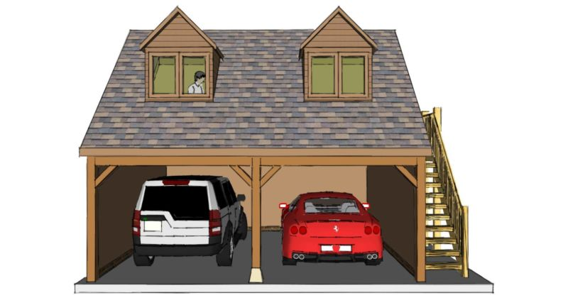 Two bay garage with room above for Room over garage plans
