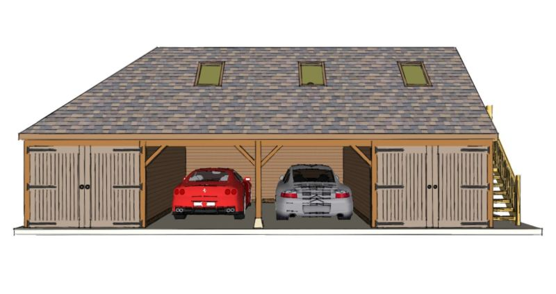 Four bay garage with room above the stable company for Room over garage design ideas