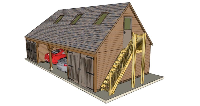 Four bay garage with room above the stable company for Room above garage plans