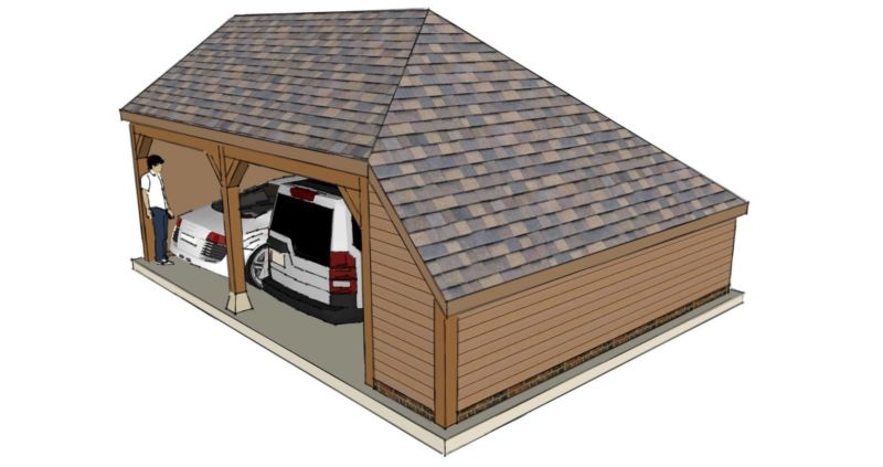 Two Bay Garage With Enclosed Side Aisle The Stable Company