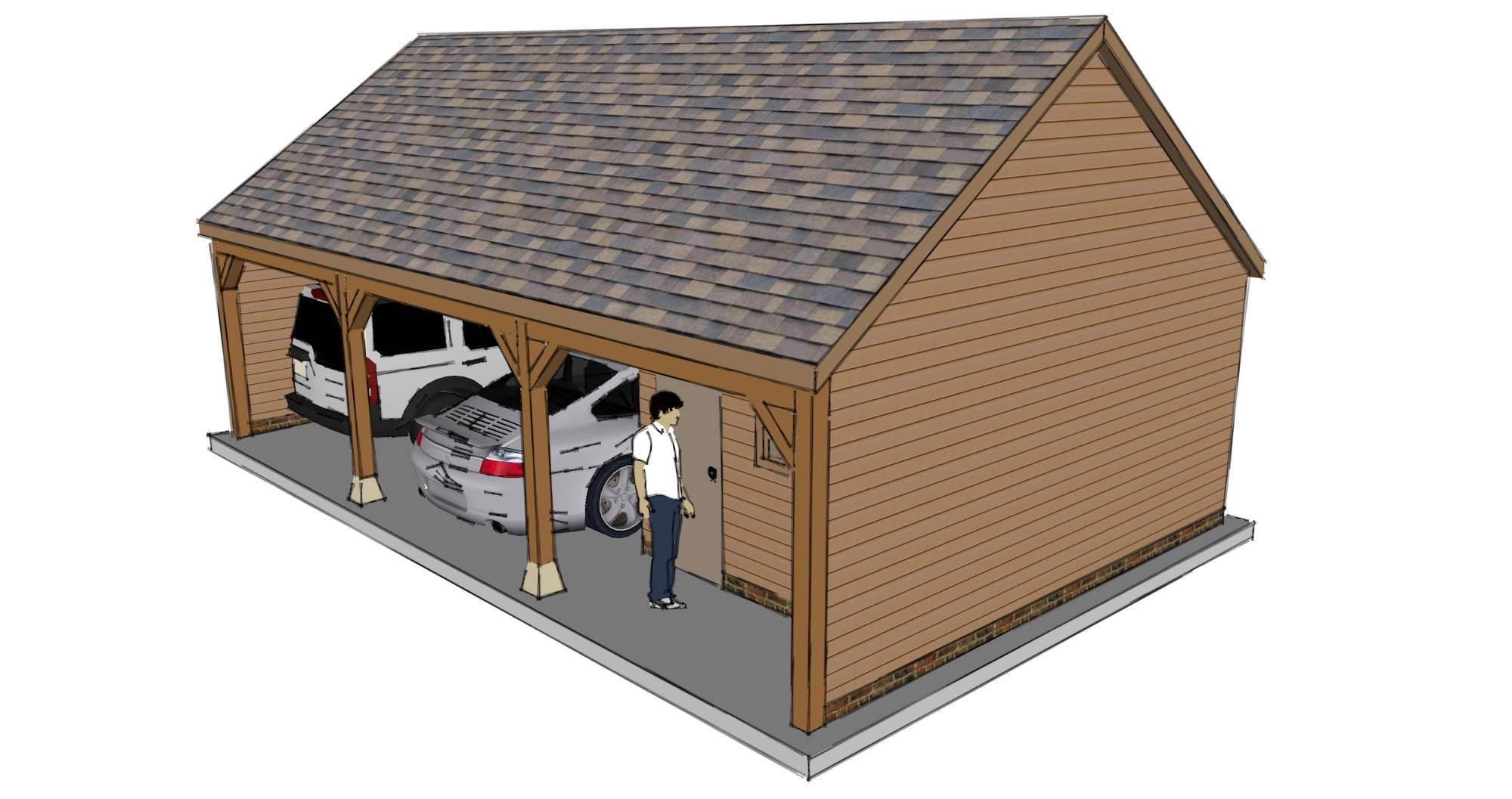 Two bay garage with workshop the stable company for Two bay garage