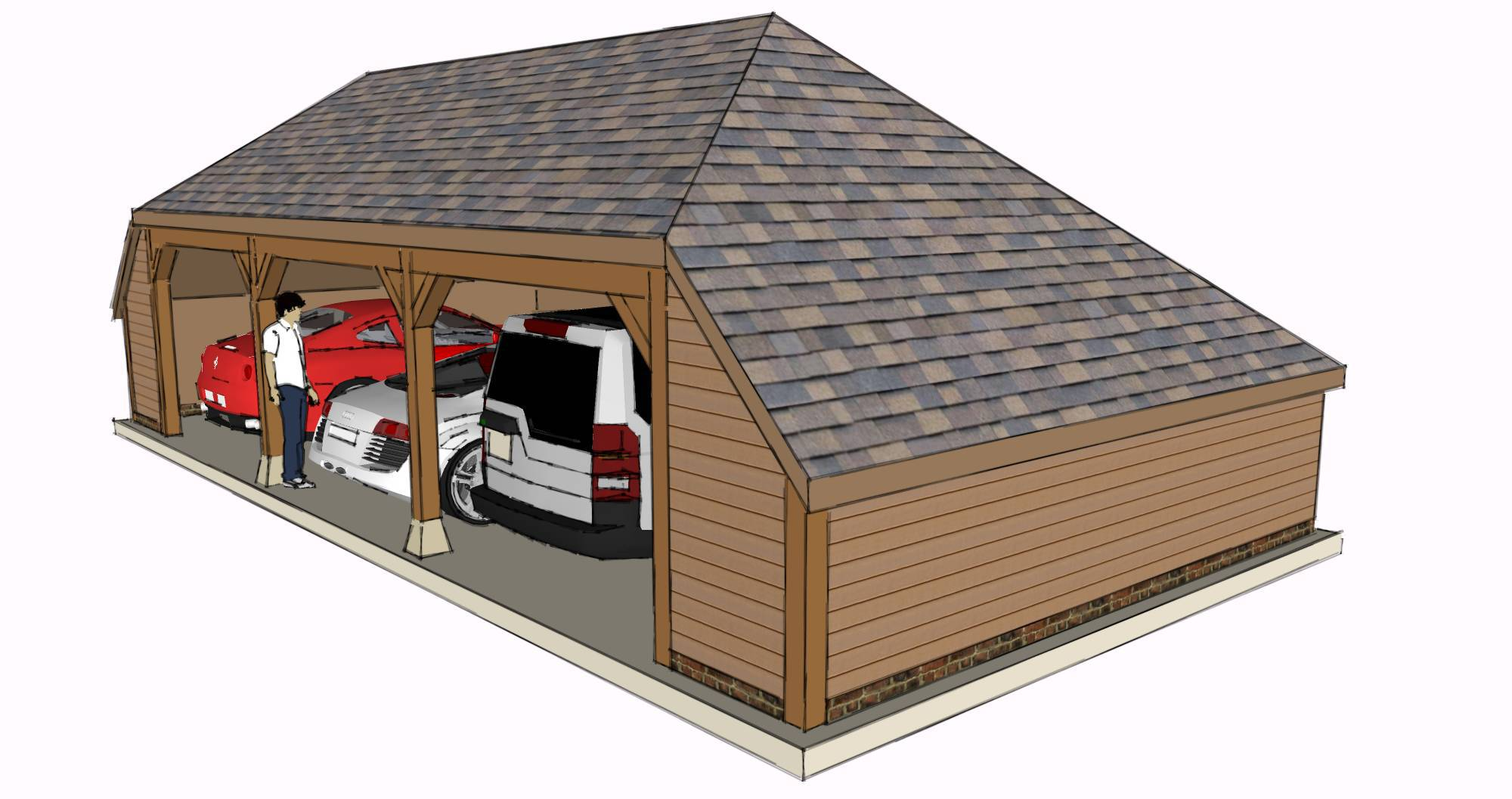 Three bay garage with enclosed side aisles the stable for Due bay garage