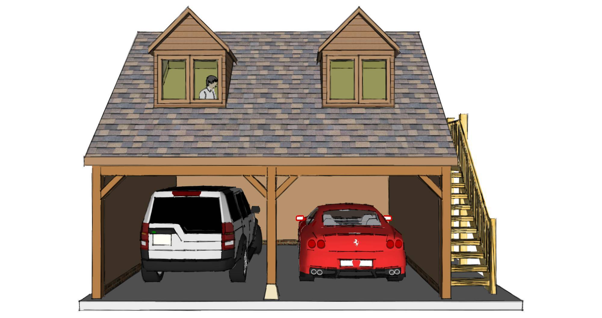 Two bay garage with room above for Garage with room above