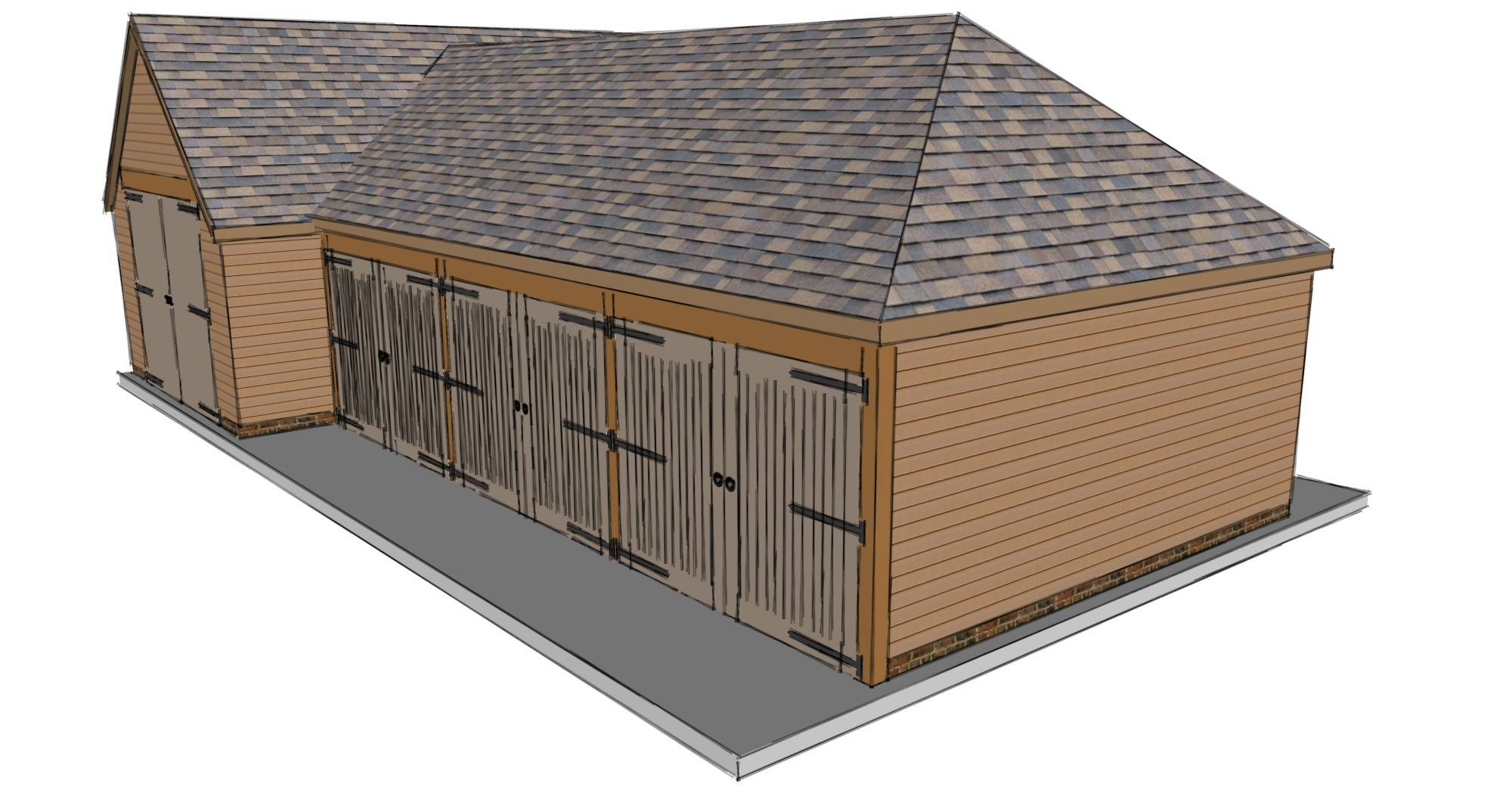 t shaped garage scheme the stable company 1